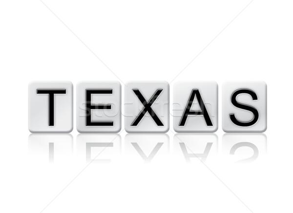 Teksas yalıtılmış kiremitli harfler kelime yazılı Stok fotoğraf © enterlinedesign