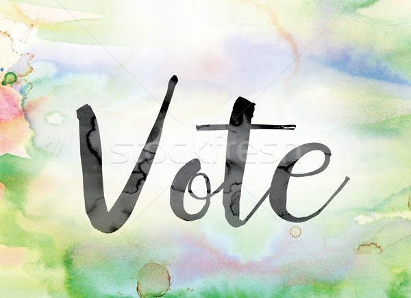 Vote Colorful Watercolor and Ink Word Art Stock photo © enterlinedesign