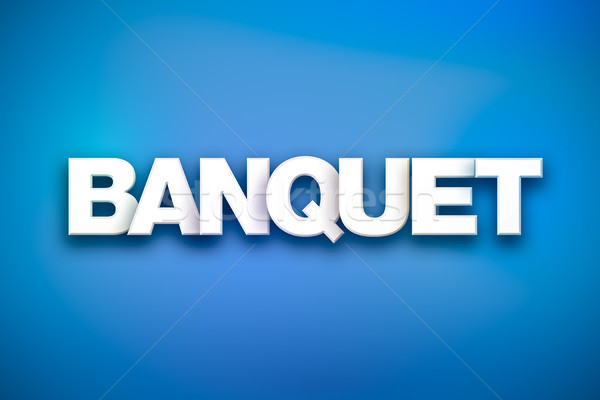 Banquet mot art coloré écrit blanche Photo stock © enterlinedesign