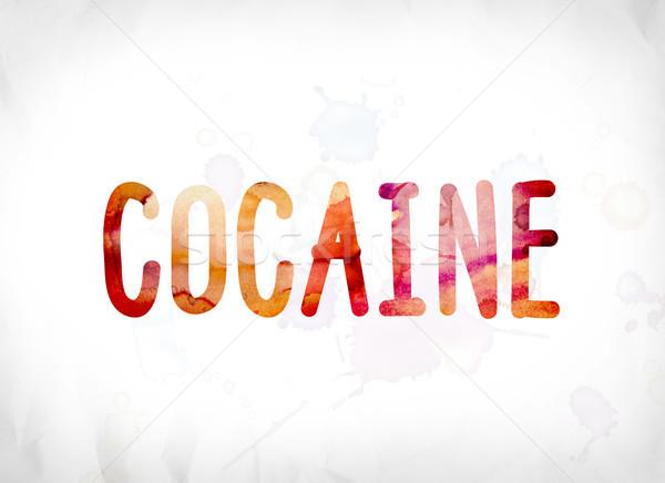 Cocaína pintado aquarela palavra arte colorido Foto stock © enterlinedesign