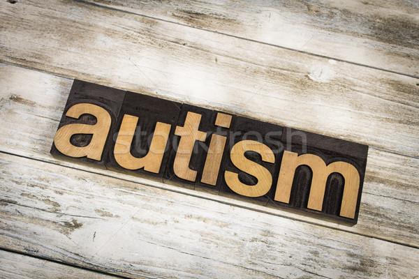 Autisme woord houten geschreven type Stockfoto © enterlinedesign