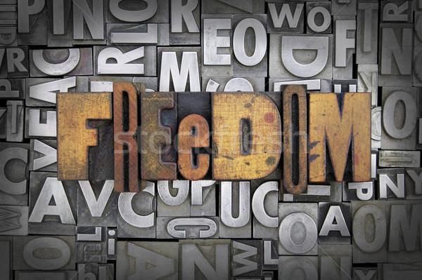 Foto stock: Liberdade · escrito · vintage · tipo · projeto