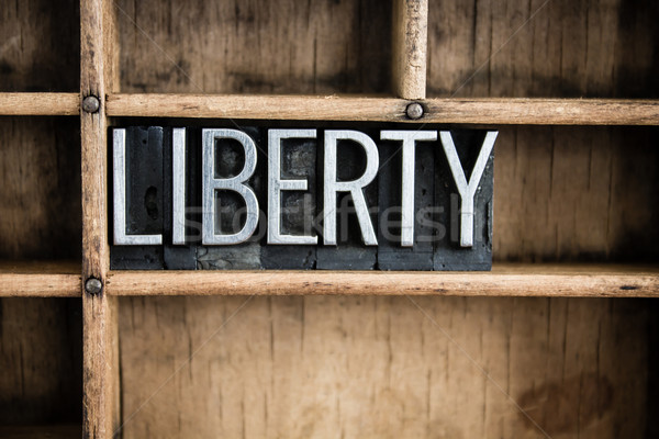 Liberty Concept Metal Letterpress Word in Drawer Stock photo © enterlinedesign