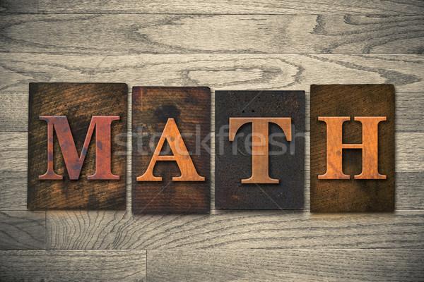 Matematik ahşap kelime yazılı bağbozumu Stok fotoğraf © enterlinedesign