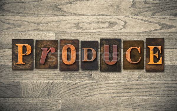 Produce Wooden Letterpress Theme Stock photo © enterlinedesign