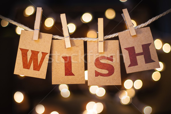 Wish Concept Clipped Cards and Lights Concept Clipped Cards and  Stock photo © enterlinedesign