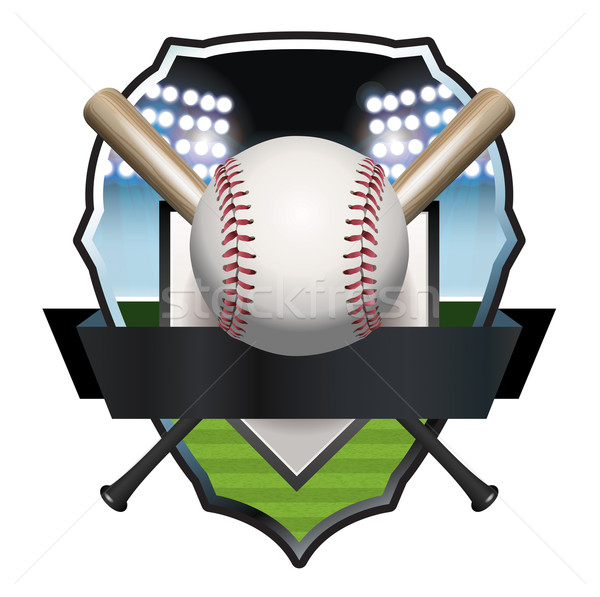 Baseball Badge Illustration Stock photo © enterlinedesign