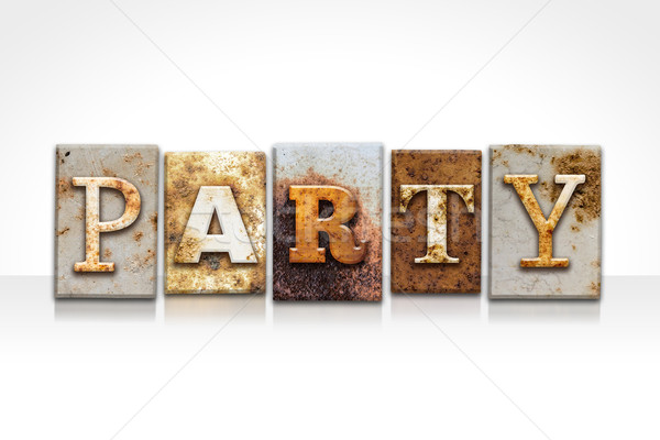 Party Letterpress Concept Isolated on White Stock photo © enterlinedesign
