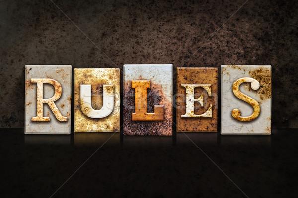 Rules Letterpress Concept on Dark Background Stock photo © enterlinedesign