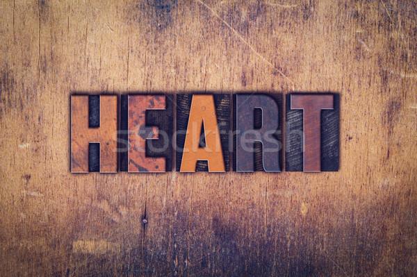 Szív fából készült magasnyomás szó írott Stock fotó © enterlinedesign