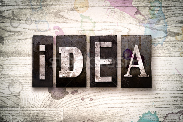 Idea Concept Metal Letterpress Type Stock photo © enterlinedesign