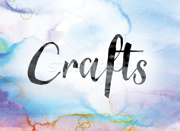 Crafts Colorful Watercolor and Ink Word Art Stock photo © enterlinedesign