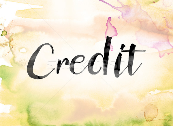 Credit Colorful Watercolor and Ink Word Art Stock photo © enterlinedesign