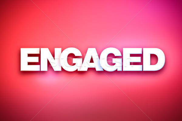 Engaged Theme Word Art on Colorful Background Stock photo © enterlinedesign
