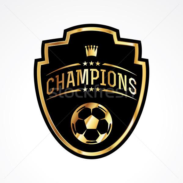 Soccer Football Champions Badge Emblem Illustration Stock photo © enterlinedesign