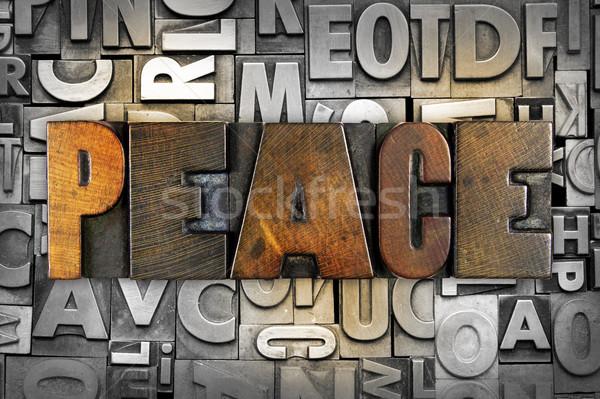 Vrede woord geschreven vintage type Stockfoto © enterlinedesign
