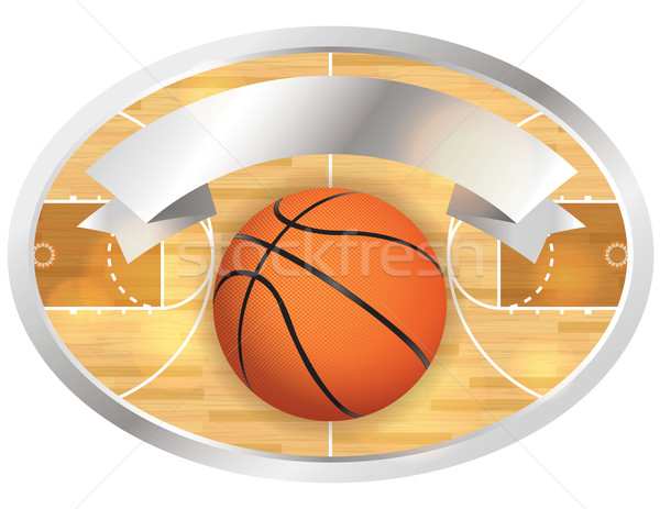 Basketbalveld badge banner illustratie vector eps Stockfoto © enterlinedesign