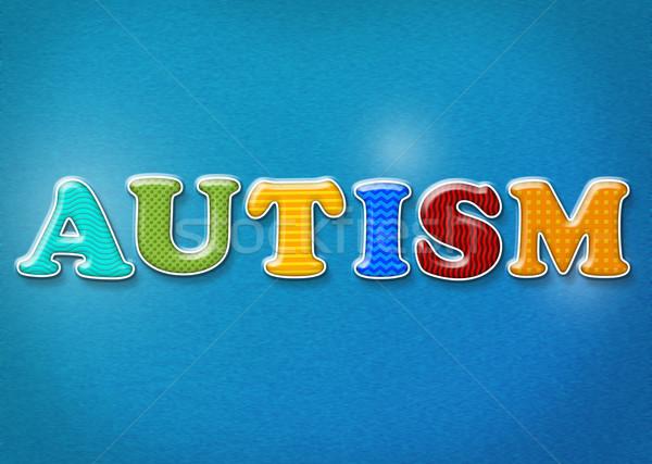 Kolorowy autyzm słowo napisany wibrujący kolory Zdjęcia stock © enterlinedesign