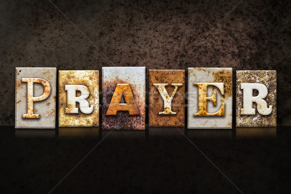 Prayer Letterpress Concept on Dark Background Stock photo © enterlinedesign