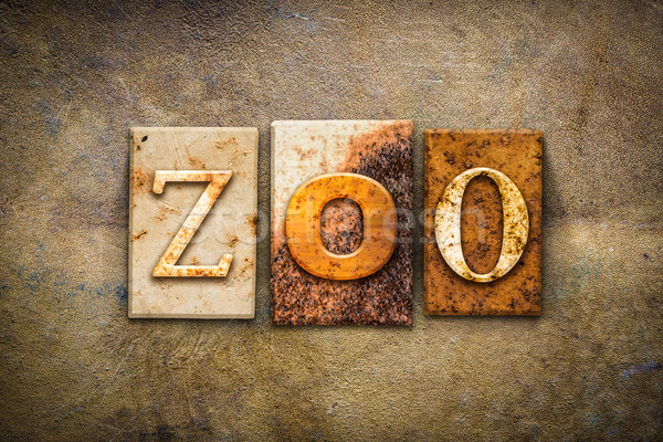 Zoo Concept Letterpress Leather Theme Stock photo © enterlinedesign