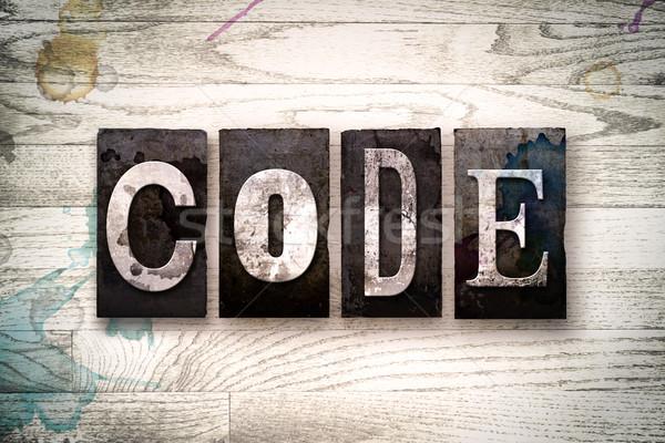 Kod Metal tip kelime yazılı Stok fotoğraf © enterlinedesign