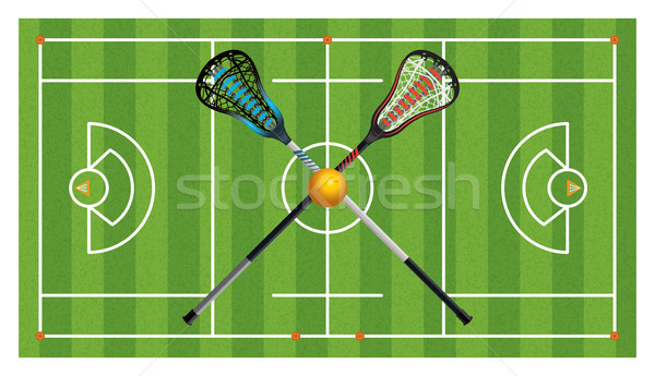 Regulation Lacrosse Field and Sticks Stock photo © enterlinedesign