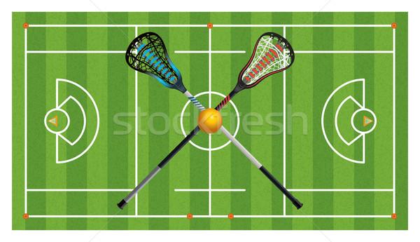 Stock photo: Regulation Lacrosse Field and Sticks