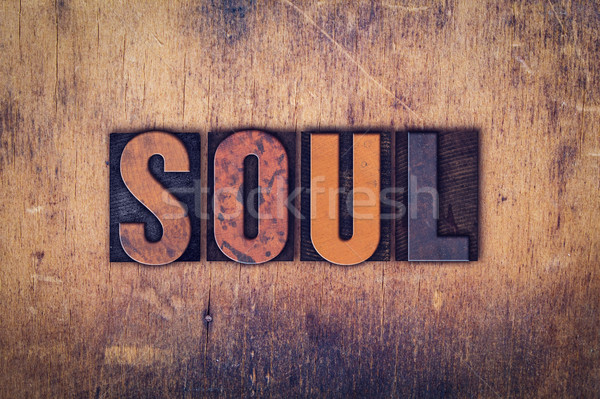 Soul Concept Wooden Letterpress Type Stock photo © enterlinedesign