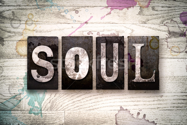 Soul Concept Metal Letterpress Type Stock photo © enterlinedesign