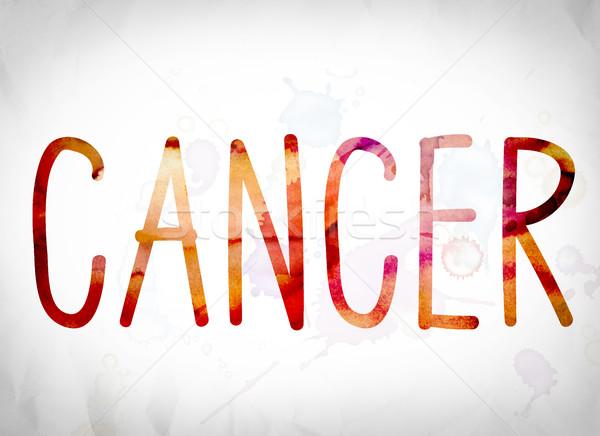 Kanser suluboya kelime sanat yazılı beyaz Stok fotoğraf © enterlinedesign