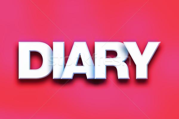 Dziennik kolorowy słowo sztuki napisany biały Zdjęcia stock © enterlinedesign