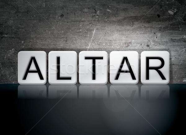 Altare piastrellato parola scritto bianco piastrelle Foto d'archivio © enterlinedesign
