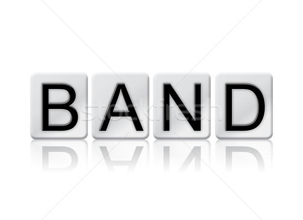 Stockfoto: Band · betegelde · woord · geïsoleerd · witte · geschreven