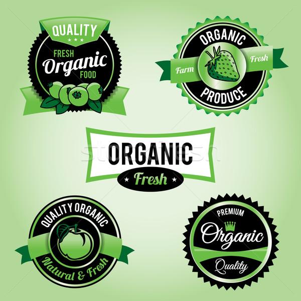 自然食品 ラベル バッジ セット ベクトル eps ストックフォト © enterlinedesign