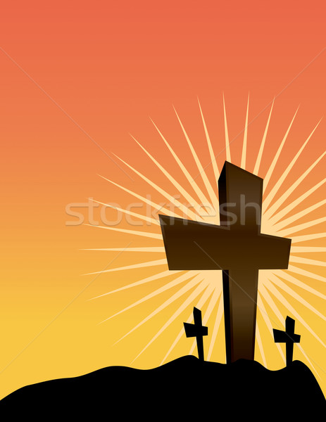 Silhouetted Crosses at Sunrise Illustration Stock photo © enterlinedesign