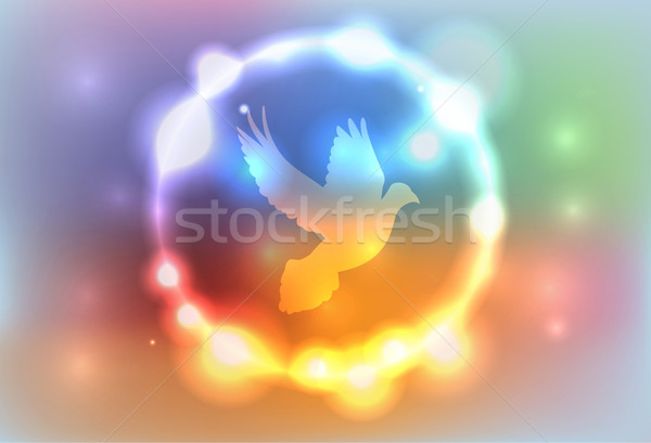 Abstract Glowing Lights Surrounding a Dove Illustration Stock photo © enterlinedesign