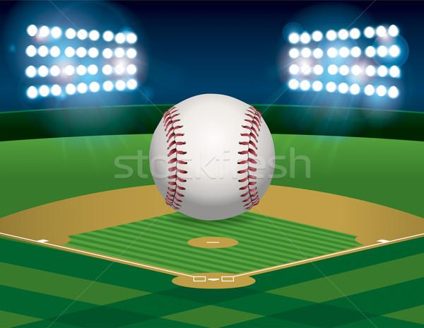 Baseball baseball pálya illusztráció ül stadion mező Stock fotó © enterlinedesign