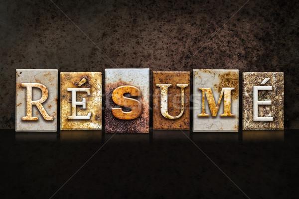 Resume Letterpress Concept on Dark Background Stock photo © enterlinedesign