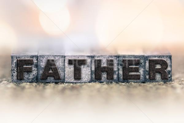 Padre vintage tipo palabra escrito Foto stock © enterlinedesign