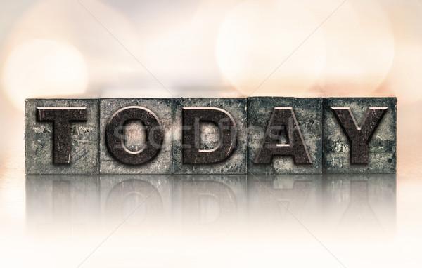 Vandaag vintage type woord geschreven Stockfoto © enterlinedesign