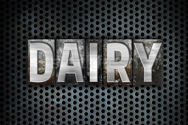 Dairy Concept Metal Letterpress Type Stock photo © enterlinedesign
