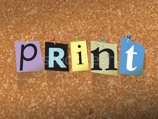 Print Pinned Paper Concept Illustration Stock photo © enterlinedesign