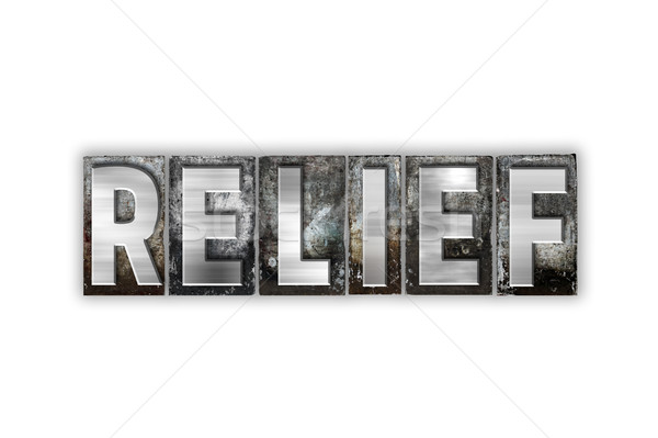 Stock photo: Relief Concept Isolated Metal Letterpress Type