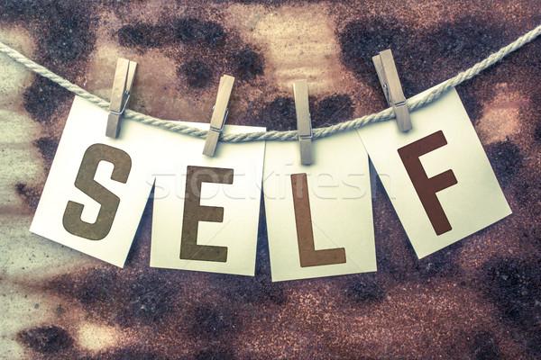 Kártyák zsinór szó öreg darab rozsdás Stock fotó © enterlinedesign