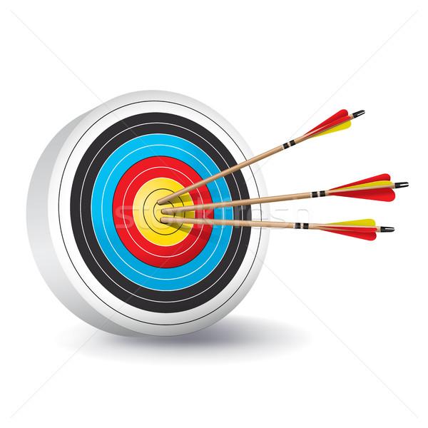 Geleneksel okçuluk hedef oklar örnek renkli Stok fotoğraf © enterlinedesign