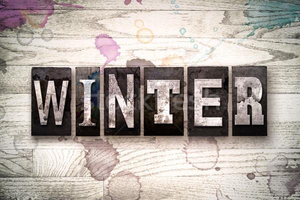 Winter Concept Metal Letterpress Type Stock photo © enterlinedesign
