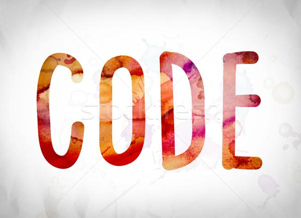 Stockfoto: Code · aquarel · woord · kunst · geschreven · witte