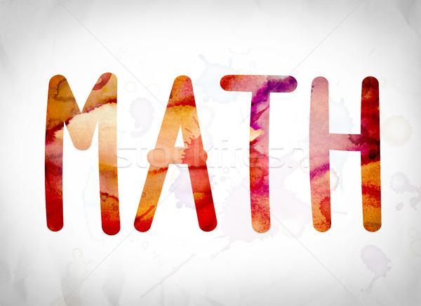 Matemáticas acuarela palabra arte escrito blanco Foto stock © enterlinedesign