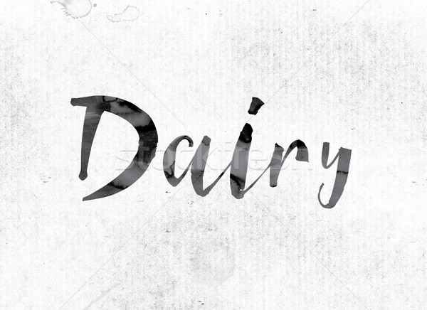 Lácteo pintado tinta palabra acuarela blanco Foto stock © enterlinedesign