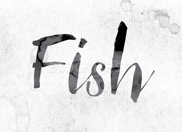 Fish Concept Painted in Ink Stock photo © enterlinedesign